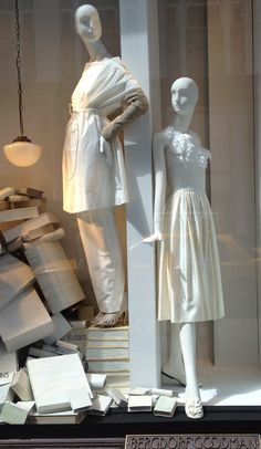 Many of the store windows feature all white for spring/summer.