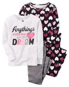 New Carters Dream Snug Fit Cotton Pajamas Toddler Girl 3 4 42be6558c