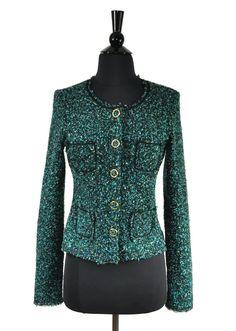 3987cc9063 Bailey 44 Blue Green Black Tweed Boucle Women s Button Jacket Size Medium M  Bailey 44