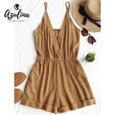 AZULINA Cross Front Rolled Up Hem Romper Women Rompers Solid Jumpsuit Summer Short Overalls Jumpsuit Female Girl Cotton Playsuit Trendy Outfits, Summer Outfits, Fashion Outfits, Womens Fashion, Trendy Fashion, Style Fashion, Brown Fashion, Fashion 2018, Petite Fashion