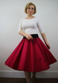 Pink full circle skirt for women, 1950s retro skirt, embroider skirt, prom skirt, summer skirt, knee length, custom made, event skirt by ElzahDesign on Etsy