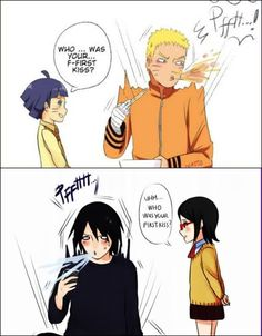 Dad, dad! Who was your first kiss? xdd (Sasuke x Naruto love story xd)