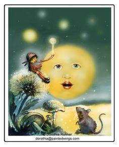 Dorothia Rohner Illustrations for Children: Mouse & the Moonmaker Sun Moon Stars, Sun And Stars, Art Beauté, Moon Pictures, Moon Pics, Moon Shadow, Moon Illustration, Paper Moon, Good Night Moon