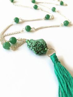 Green Aventurine Beaded Necklace Tassel Long Necklace Green Beaded Necklace Long Layering Necklace Boho Style Necklace(N39) by JulemiJewelry on Etsy https://www.etsy.com/listing/232231084/green-aventurine-beaded-necklace-tassel