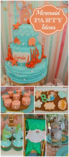 Such a pretty mermaid party! It is decorated in aqua, mint, salmon! See more party ideas at CatchMyParty.com!