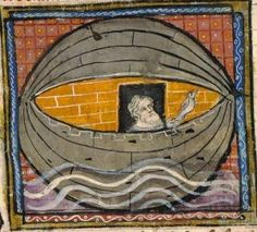 A worried Noah in a boat the artist made to look like an eyeball lined in brick. Hm. Medieval French illustration. Scan of 2 d image in the public domain believed to be free to use without restriction in the US.
