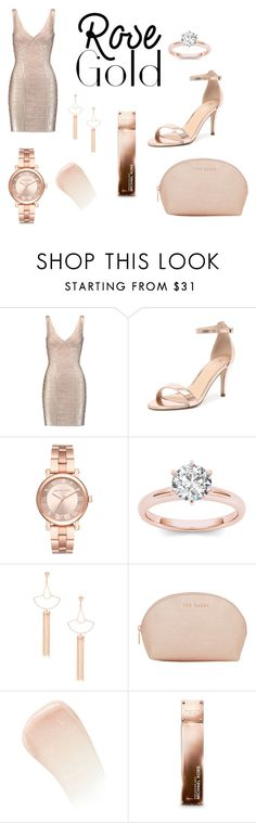 """""""rose gold"""" by naomi355 ❤ liked on Polyvore featuring Hervé Léger, Verali, Michael Kors, Sole Society, Ted Baker, By Terry, gold, rose and rosegold"""