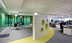 a forest digital print on store wall, transforms this breakout area into a tranquil relaxing outdoor space! Breakout Area, Office Fit Out, Lunch Room, Pinterest Projects, Office Interiors, Wall Murals, Digital Prints, Innovation, House Design