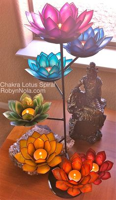 Tough founded zen meditation room Yes! Lotus Candle Holder, Candle Holders, Lotus Flower Symbolism, Reiki Room, Chakra Colors, Diwali Decorations, Inspirational Gifts, Stained Glass, Glass Art