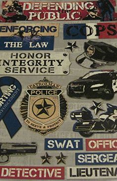 """Custom & Decorative {2"""" X 2"""" Inch} 18 Piece Pack of Mid-Size Stickers for Arts, Crafts & Scrapbooking w/ """"Defending The Public"""" Police Officer Gun, Car, & Motorcycle {Red, White, Blue, Tan, & Black}"""