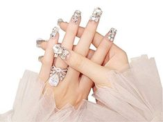 Luxurious Rhinestone False Nails For Drag Queens (Set of – Queerks… Wedding Nails For Bride, Bride Nails, Prom Nails, Long Nails, Bridesmaids Nails, Brides And Bridesmaids, Drag Queens, Matte White Nails, Matte Gel