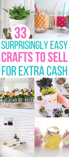 Ever wonder if you could make any money selling crafts? Check out these 33 crafts to make and sell, and you just might find the perfect crafty side job! Best Christmas crafts to sell in 2020. Christmas Crafts To Sell Make Money, Diy Projects To Make And Sell, Easy Crafts To Sell, Diy Craft Projects, Craft Ideas, Making Extra Cash, Dollar Store Crafts, Jar Crafts, Artisanal