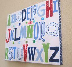 Jackson ABC's Nursery Wall art 11x14 Blue by CuteAsAButtonArt, $35.00