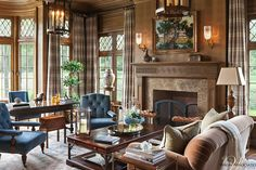 Get the Look: A Warm and Inviting Study Layered with Plaid, Velvet and Wood Paneling - Get the Look - Dering Hall Traditional Decor, Traditional House, Living Room Decor, Living Spaces, Living Rooms, Design Salon, French Country Living Room, Interior Decorating, Interior Design