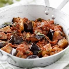 Greek aubergines braised in tomato sauce - Easy and simple but delicious Summertime vegetarian dish