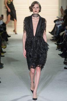 Marchesa Autumn / Winter 2015 AW15 - New York Fashion Week NYFW - Fringed Black Dress