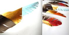 Needle and Nest Design: D.I.Y: painted feathers mobile.