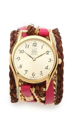 Love the mix of textures and styles on this watch!   (Sara Designs Flat Leather & Chain Wrap Watch)