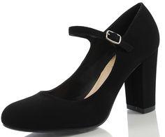Amazon.com | City Classified Comfort Women's Nola Faux Nubuck Leather Mary Jane Chunky High Heel | Pumps