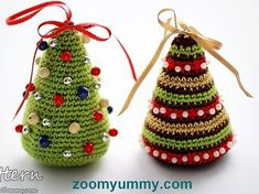 crochet pattern - little Christmas trees Christmas Tree Pattern, Little Christmas Trees, Crochet Christmas Ornaments, Holiday Crochet, Colorful Christmas Tree, Christmas Projects, Holiday Crafts, Tree Patterns, Crochet Projects