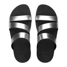 FitFlop Superjelly™ Twist Slide Sandals (460 CNY) ❤ liked on Polyvore featuring shoes, sandals, silver mirror, silver strappy sandals, strap sandals, slide sandals, silver shoes and beach sandals