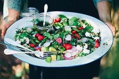 Jealous of this salad? Maybe just a little? @luisegreenkitchenstories added cauliflower, quinoa, sweet peas, asparagus, radishes, avocado, mini labneh balls and strawberries (yes, strawberries!) into this mix. That's one EPIC salad! – I Quit Sugar
