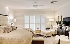 Bedroom in neutral colors and soft fabrics