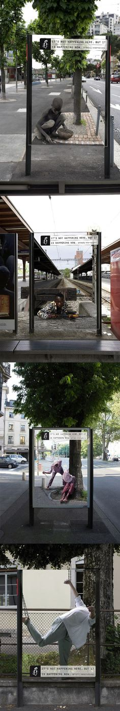 Publicité - Creative advertising campaign - Amnesty International: It's not happening here, but it is happening now Guerrilla Advertising, Out Of Home Advertising, Clever Advertising, Advertising Campaign, Advertising Design, Marketing And Advertising, Street Marketing, Guerilla Marketing, Worlds Of Fun