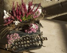 """This week bouquet inspiration: a vintage typewriter. """"The typewriter is a site of germination and growth: words seed ideas that blossom into stories."""""""