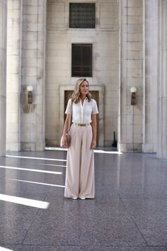 blush wide leg pants and eyelet shirt