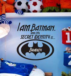 SALE Little boys room vinyl decal Batman theme Batman Boys Room, Batman Bedroom, Superhero Room, Superhero Party, Kids Clubhouse, Baby Boy Rooms, Kids Rooms, I Am Batman, Kids Bedroom