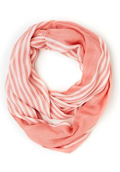 Rays on a Cloudy Day Scarf in Peach - Sheer, Woven, White, Stripes, Casual, Good, Orange, Pink, Pastel, Variation