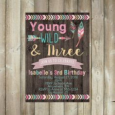 Young Wild and Three  Third Birthday by FavoriteThingsDesign