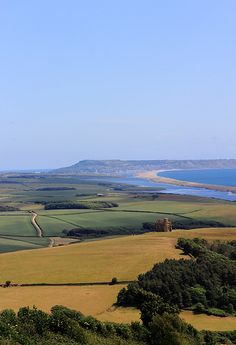 The Isle of Portland viewed from Abbotsbury, looking east along the Chesil Bank, Dorset. One of my favourite views ever!