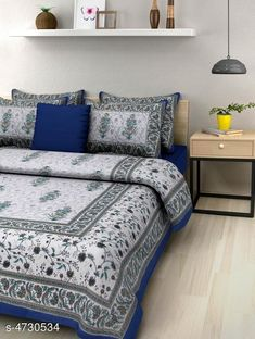 Bedsheets Stellar Cotton Double Bedsheet Fabric: Cotton No. Of Pillow Covers: 2 Thread Count: 140 Multipack: Pack Of 1 Sizes: Queen (Length Size: 100 in Width Size: 90 in Pillow Length Size: 27 in Pillow Width Size: 17 in) Country of Origin: India Sizes Available: Queen   Catalog Rating: ★4 (434)  Catalog Name: Free Mask Trendy Classy Bedsheets CatalogID_687983 C53-SC1101 Code: 473-4730534-558