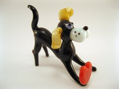 Blown Glass Dog Miniature, Sculpture, Figurine, Lampwork, Dog with heart