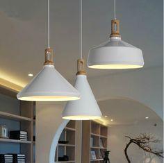 Modern pendant light Wood and aluminum lamp black/ white restaurant bar coffee dining room LED hanging light fixture-in Pendant Lights from Lights & Lighting on Aliexpress.com   Alibaba Group