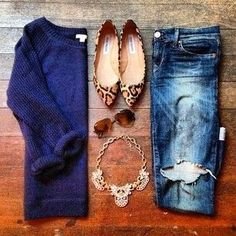 navy sweater, leopard flats, gold necklace. I like how simple this is but cute with the fancy necklace and printed shoes.