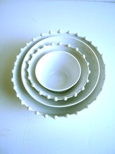 White Pearls Nesting Bowls Set  MADE TO ORDER by NewMoonStudio,