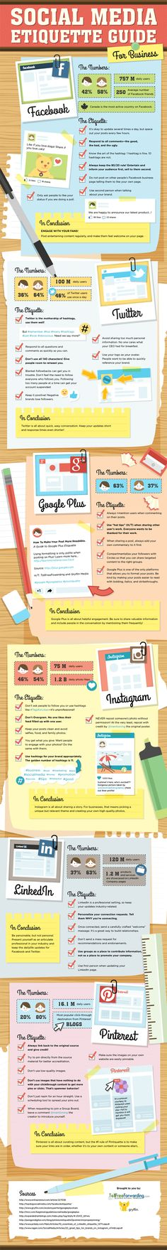 "The Ultimate Social Media Etiquette Guide for Businesses [Infographic]  So easy to ""do it right""!  http://facebook.com/smallbusinesswebsolutions!"