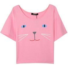 Choies Pink Cat Print Short Sleeve Crop T-shirt ($9.90) ❤ liked on Polyvore featuring tops, t-shirts, shirts, crop tops, pink, cat print t shirt, pink t shirt, crop top, crop t shirt and crop shirts