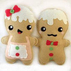 Gingerbread man and woman plushies by Plusheez on Etsy, £10.00