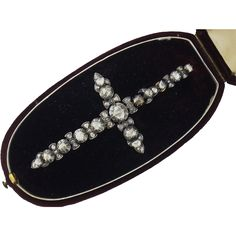 Antique Silver, 14K Gold & Rose-cut Diamond XL Cross Pendant in Original Box. Austria, c. 1800s