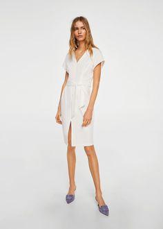 Šaty s páskem na vázačku | MANGO