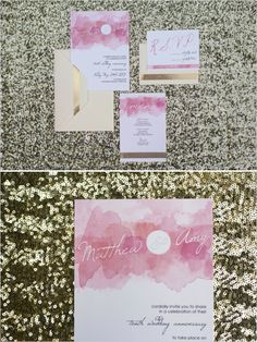 gold and pink wedding invites