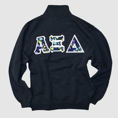 Half zip sweatshirt with Alpha Xi Delta letters on the back