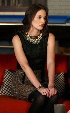 Blair Waldorf. Statement necklace on black peice, with tweed skirt