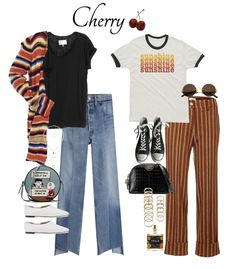 Inspired from Harry's album Fine Line. Cherry looks like: mix & matched patterns, french casual wear, nostalgia, sunlight, lounging and lazily playing acoustic guitar on a Sunday. Cute Casual Outfits, Retro Outfits, Casual Wear, School Looks, Harry Styles Clothes, Harry Styles Fashion, 70s Inspired Fashion, 70s Inspired Outfits, Harry Styles Concert