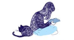 Girl, cat, reading, books.