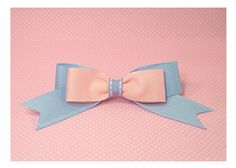 As Is  Kawaii  Light Blue Pink Bow Clip Barrette by blacktulipshop, $5.00